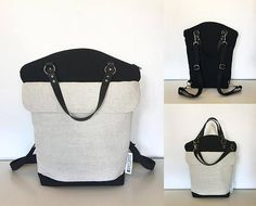Minimalist black and cream backpack convertible shoulder bag