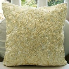 Decorative Throw Pillow Covers Couch Pillow Sofa 16x16 Inches Silk Pillow Cover Ivory Satin Ribbon Embroidered Thats Satin Ribbon Home Decor