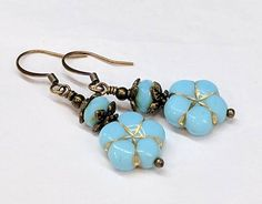 Blue Floral Drop Earrings Czech Glass Bead Daisy Flower