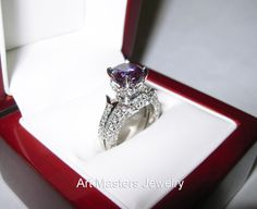 lassic French 3.0 Ct Alexandrite Diamond Solitaire and Wedding Ring Bridal Set R401S-14KWGDAL