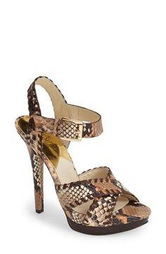 MICHAEL Michael Kors 'Odessa' Snake Embossed Leather Platform Sandal (Women) available at #Nordstrom