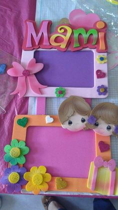 Quiet Book Templates Baby Shawer Felt Crafts Crafts To Make Crafts For Kids Cold Porcelain Birthday Holidays And Events Fathers Day Kids Crafts, Foam Crafts, Preschool Crafts, Crafts To Make, Photo Frame Crafts, Diy Diwali Decorations, Handmade Frames, Mothers Day Crafts, 40th Birthday