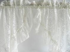 Ivory Lace Window Curtains / Five Pairs
