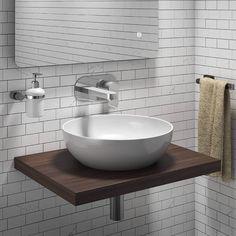 Floating Bathroom Sink, Basin Sink Bathroom, Downstairs Bathroom, Bathroom Vanities, Condo Bathroom, Ensuite Bathrooms, Walnut Floating Shelves, Sink Shelf, Shower Fittings