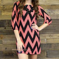 Charm City Coral Chevron Dress