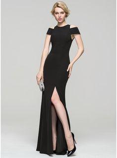 Sheath/Column Scoop Neck Floor-Length Jersey Evening Dress With Split Front