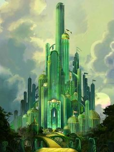 This vastly grandiferic picture of Emerald City. I wonder what kind of greenery business is going on the tippy-top of the topmost tower there.
