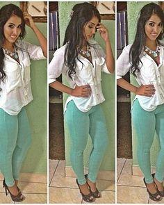 simple white blouse + pastel pants