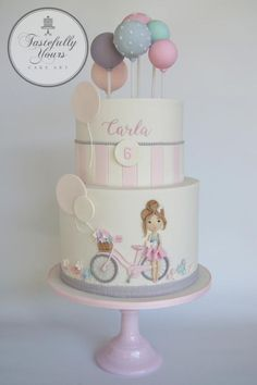 Bicycle Girl by Marianne: Tastefully Yours Cake Art - Kuchen - kuchen kindergeburtstag Pretty Cakes, Cute Cakes, Beautiful Cakes, Fondant Cakes, Cupcake Cakes, Little Girl Cakes, Balloon Cake, Birthday Cake Girls, Birthday Cakes