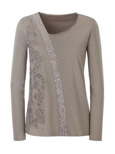 TAUPE Asymmetrical Neckline Top from Creation L
