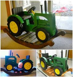 How cool are these John Deere Rocking Tractors --> http://wonderfuldiy.com/wonderful-diy-john-deere-rocking-tractors/ #DIY #Johndeere #rockingtractor