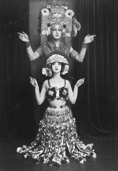 Modern dance pioneers Ruth St. Denis and her husband Ted Shawn costumed for a performance of a dance entitled Xochitl, 1915, E. O. Hoppe.