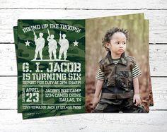 Army Birthday Invitation. Military Birthday Invitation.