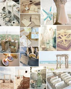 Beach Wedding Theme- love the bottles with a single thing in it with sand, love the driftwood altar!!!!!