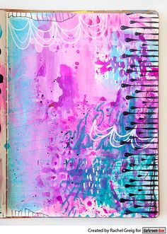 Art journal background by Rachel Greig using Darkroom Door Paint Drips Eclectic Stamp