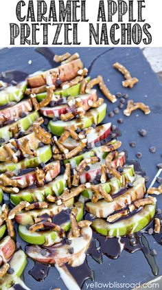 Get your chocolatey, caramely, marshmallowey, salty fix with these Caramel Apple Pretzel Nachos.