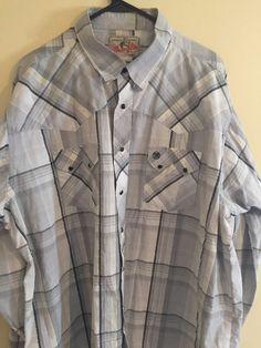 Mens Grey Plaid WRANGLER Western Black Pearl Snap Shirt Vintage Free Shipping #Wrangler #Western