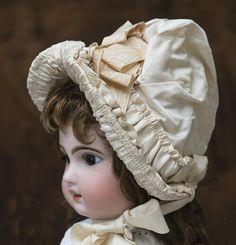 Wonderful Antique Original Silk Satin Bonnet Hat for french Jumeau Bru Steiner…