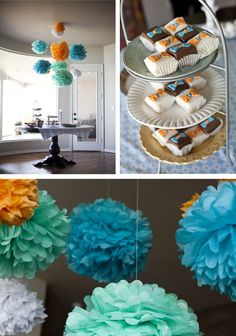 pom poms - there is also a bow tie baby diaper cake on this link