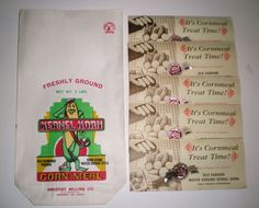 KERNEL KORN CORN MEAL PAPER SACK & 5 RECIPE GIVE AWAYS AMHERST MILLING CO VA  #kernalkorn