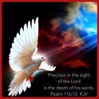 Psalms  116:15  Precious in the sight of the Lord Is the death of His saints.    NKJV