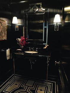 Art Deco Powder Room with Venetian gems cecille wall mirror, Wall sconce, High ceiling, Console sink, Soapstone counters Home Design, Diy Design, Design Ideas, Design Projects, Black Powder Room, Powder Rooms, Bath Powder, Mirror Powder, Console Sink