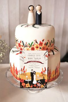 Wedding cake hand painted to match wedding stationery!