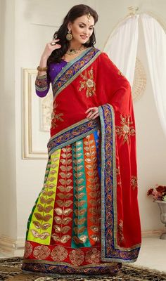 Charming art silk and velvet lehenga saree. We are to breathe life into your aspirations and to make a mark in the world of style. Spread the aura of freshness with this red and purple art silk and velvet lehenga saree showing a touch of sensuality. Indian Designer Sarees, Indian Sarees Online, Designer Sarees Online, Designer Dresses, Lehenga Style Saree, Silk Lehenga, Saree Dress, Indian Dresses, Indian Outfits