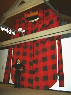 Janet Morton, Canadian Monument #2. Hand screened red flannel   and mixed media 1994. Courtesy of Paul Petro Contemporary Art.