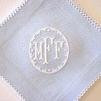 Monogram blue linen, French home decor, tablescapes, personalized gifts, southern home accents, French blue linen monogramed initials, southern starter kit, custom gifts, blue and white accents,