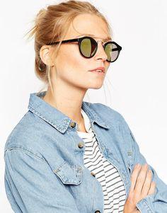 Bild 1 von ASOS – Runde Sonnenbrille mit Metallsteg und bunten Gläsern