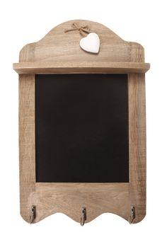 scalloped blackboard with 3 hooks, tea towel hooks, memo board with heart detail, shabby chic: Amazon.co.uk: Kitchen & Home