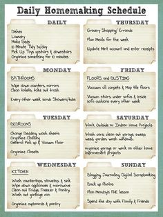 Smile Like You Mean it: Cleaning Schedule - if I ever am a stay-at-home' er I would like to do a schedule like this