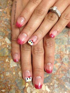Hello Kitty Soft Gel Nails @Hallie Shannon Gel Shellac Nails, Soft Gel Nails, Pink Nails, Nail Polish, Creative Nail Designs, Creative Nails, Mani Pedi, Pedicure, Cute Nails