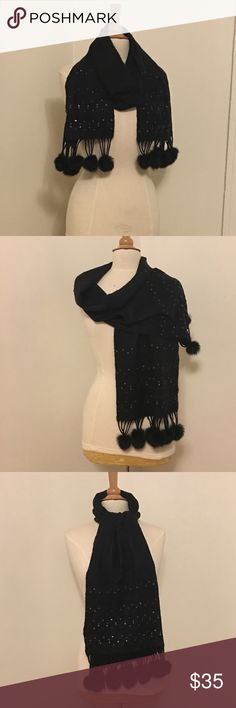 Stunning Black Scarf with Bling and Fur Stunning Black Scarf with Bling and Fur. Genuine fur trim embellishes this gorgeous beaded and sequined scarf. Vamp up your warmth factor with LOTS of style! Accessories Scarves & Wraps