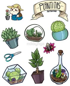 'Little plants sticker set' Sticker by mikkynga Cactus Drawing, Plant Drawing, Printable Stickers, Cute Stickers, Tumblr Stickers, Journal Stickers, Cute Doodles, Aesthetic Stickers, Little Plants