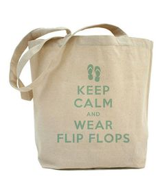 Look what I found on #zulily! Natural 'Keep Calm And Wear Flip Flops' Tote Bag #zulilyfinds