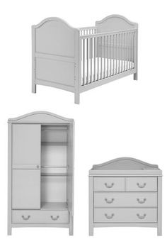 East Coast Toulouse Room Set - www.totswarehouse.com The East Coast Toulouse Nursery Room Set is a simple vintage nursery furniture set that will complement any nursery with its soft grey french finish.  The cot bed has a classic shape, with solid ends;   The dresser has three deep drawers to keep nappy-changing essentials close to hand but out of sight.  The double wardrobe provides plenty of storage space with 2 full-width hanging rails  #nursery #furniture #grey