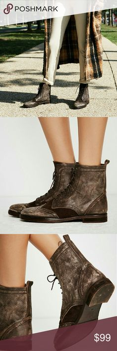 """NWT FREE PEOPLE Badlands Ankle Boots Rugged Menswear inspired washed leather ankle boots featuring a rounded toe with broguing detailing. Lace up tie closure and contrast suede panels with a slight stacked heel. This style runs through to size, if between sizes, size up. Leather/ suede. Heel 1"""", Shaft 6"""". Import. Sold out everywhere else. Color brown combo. Free People Shoes Lace Up Boots"""