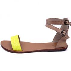 Sandales plates jaunes fluo Koah - Le dressing de captendance