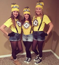 20 Of the Best Ideas for Minions Halloween Costume Diy . Despicable Me 2 Minions Halloween Costume Thrift Store Style Adult Minion Costume, Despicable Me Costume, Diy Minion Costume, Cute Group Halloween Costumes, Group Costumes, Halloween Outfits, Girl Halloween, Halloween Parties, Halloween Recipe