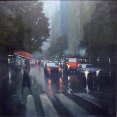 Artist: Mike Barr - Title: Pirie Street Crossing (Height - 75.00 cm X Width - 75.00 cm )