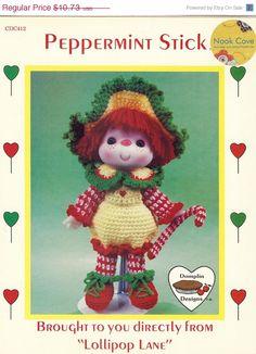 20 OFF Peppermint Stick Crochet Doll  Vintage Dumplin by NookCove