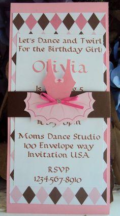 Ballerina Invitation ,Tutu invitation, Childrens Birthday invitation. $35.00, via Etsy.