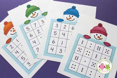 Here is a free printable snowman number game that you can play with your kids. There are 4 different game boards so that you can play at many levels. This is a great winter-themed math game or activity to play with kids in preschool, pre-k and kindergarte Winter Crafts For Kids, Winter Kids, Winter Snow, Snow Activities, Preschool Activities, Snowman Games, Winter Thema, Math Games For Kids, Kids Math