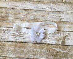 White Headband/White Baptism Headband/White Christening Headband/Flower Girl…