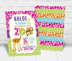 Zoo Birthday Invitation: Printable Personalized Boy or Girl Birthday Party Invitations Art Party Invitations, Kids Birthday Party Invitations, Digital Invitations, Invite, Zoo Birthday, 24 September, Party Guests, Party Packs, Giraffe