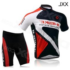 Inbike Short Sleeves Cycling Jersey + Shorts Set for Men - Black + White + Red (Size XXL)