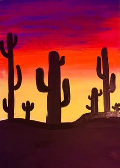 Very Easy Acrylic Painting!! How To Paint A Cactus Silhouette Sunset - Step by Step Acrylic Painting Tutorial