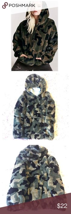 """Faux Fur Camo Hoodie ✨NWT✨ This camouflage hoodie is SO soft! It's tagged """"outerwear"""" bc it's thick and lined in awesome cotton heathered gray t-shirt material that will keep you so warm and snuggly! The arms are lined in smooth poly so you can layer easily and slide your arms right in if you're wearing long sleeves underneath. Awesome front kangaroo pocket, so useful to hold your cell or keep your hands warm! 22.5"""" across bust, 26.5"""" L, 22"""" sleeve.  ⭐️ MAKES A GREAT HOLIDAY GIFT! ⭐️ Forever…"""